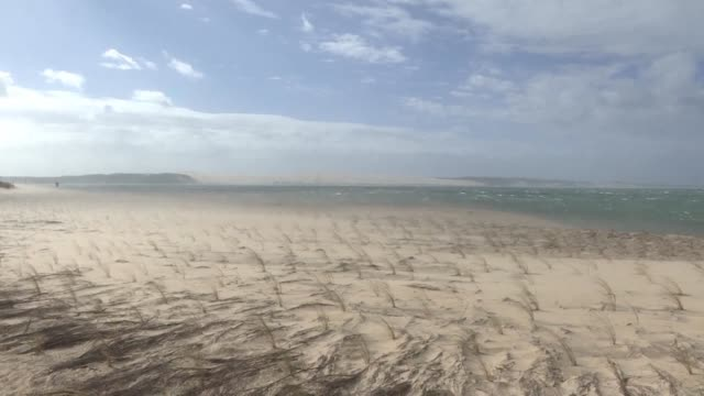 the beaches of cap ferret on france's west coast are lashed by the wind as storm miguel sweeps in from the atlantic - cap ferret stock videos & royalty-free footage