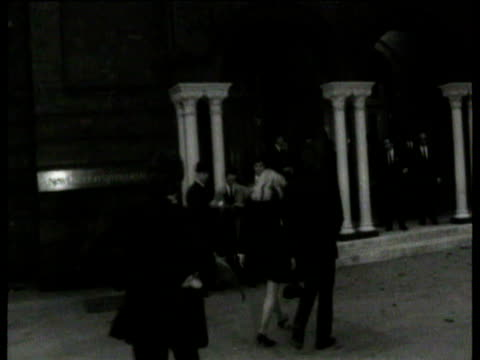 the beatles arriving at memorial at new london synagogue for their manager brian epstein / john lennon arriving with his wife cynthia lennon / paul... - john lennon stock videos and b-roll footage