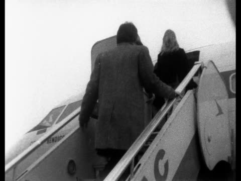 the beatles go to india to meditate transcendentally 1 london lap ringo starr and wife with paul mccartney and jane asher pose at foot of plane steps... - meditating stock videos & royalty-free footage