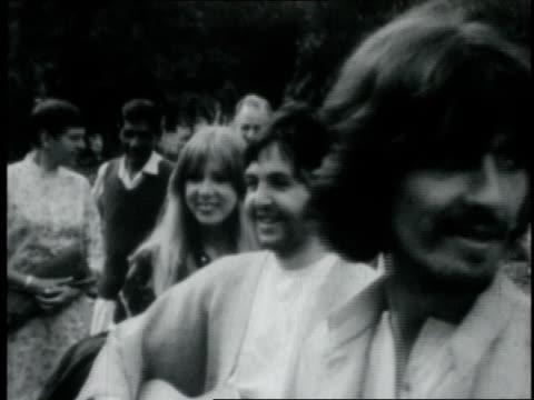 the beatles meeting with the maharishi mahesh yogi / india - ringo starr stock videos & royalty-free footage