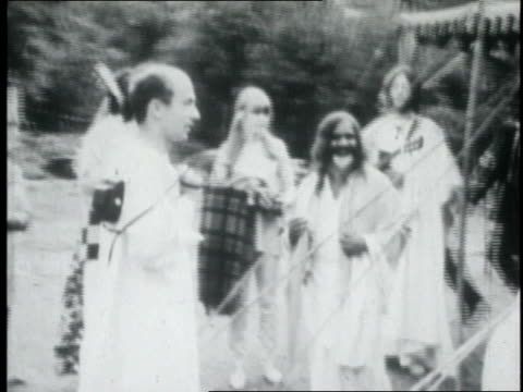 the beatles meeting with the maharishi mahesh yogi / india - mia farrow stock videos & royalty-free footage