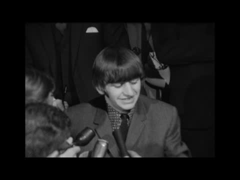 ringo starr goes into hospital; england: london: university college hospital: int ringo starr speaking to press and opens mouth to show tonsils sof... - ringo starr stock videos & royalty-free footage