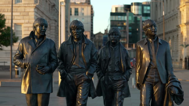 the beatles statue, liverpool - the beatles stock videos & royalty-free footage