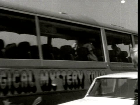 the beatles travel on a coach as part of the magical mystery tour plymouth 1967 - the beatles stock videos and b-roll footage