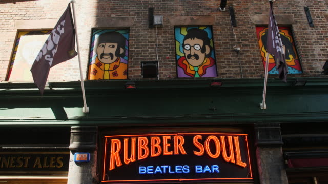 the beatles window mural above rubber soul, liverpool - the beatles stock videos & royalty-free footage