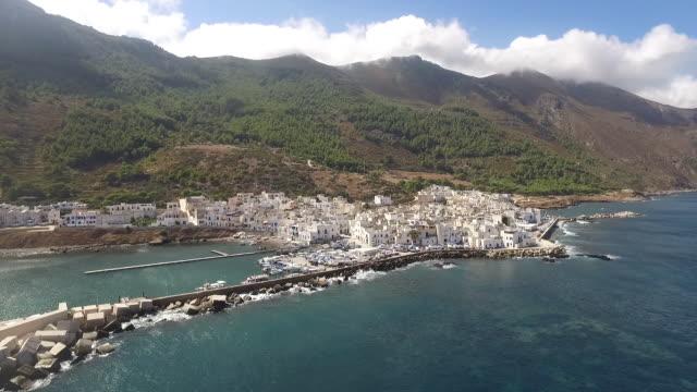 the beautiful view of marettimo island off the coast of sicily, in italy - mar mediterraneo video stock e b–roll