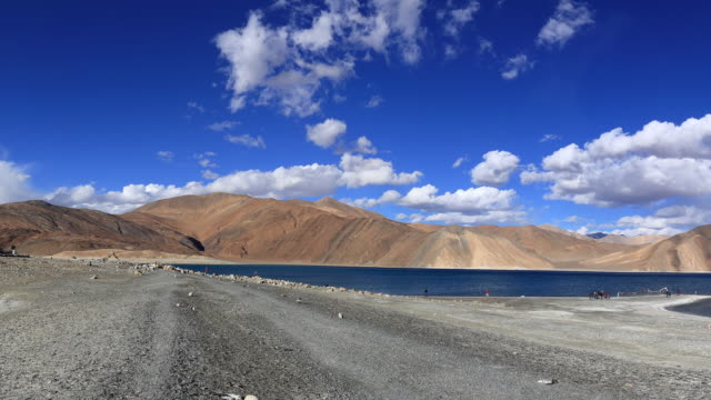 the beauty of pangong tso, a high altitude lake in ladakh, the indian himalayas - traditionally tibetan stock videos & royalty-free footage
