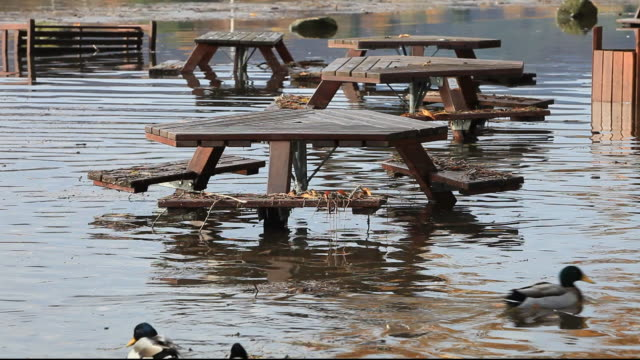 the beer garden of the water edge hotel in ambleside inundated after lake windermere broke its banks following torrential rain, lake district, cumbria, uk. - flood stock videos & royalty-free footage