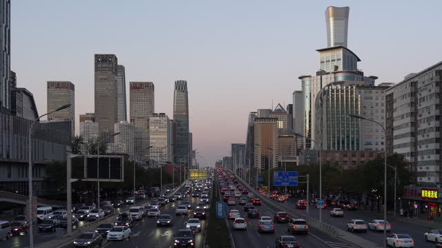 the beijing urban skyline with car traffic in china, on november 29, 2020. - beijing stock videos & royalty-free footage