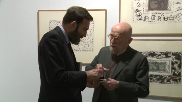 the belgian painter pierre alechinsky aged 87-years-old has participated on thursday to a retrospective of his artwork organized by the circulo de... - papier stock videos & royalty-free footage