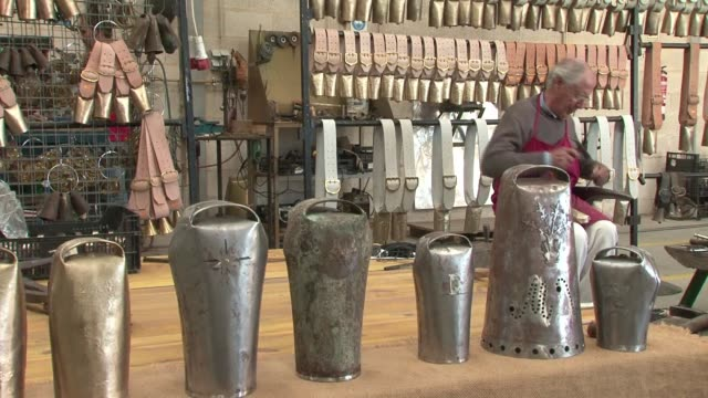 the bell makers of alcacovas in portugal have been recognised by unesco as an example of intangible cultural heritage - évora district stock videos & royalty-free footage