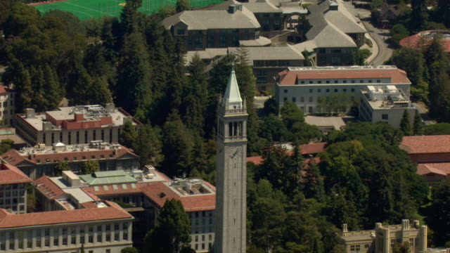 the bell tower dominates the university of california berkeley's campus. - university of california stock videos & royalty-free footage