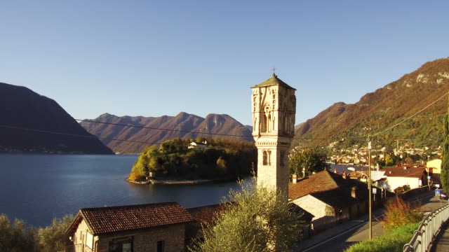The Bell Tower of Ossuccio near Isola Comacina on the shore of Lake Como