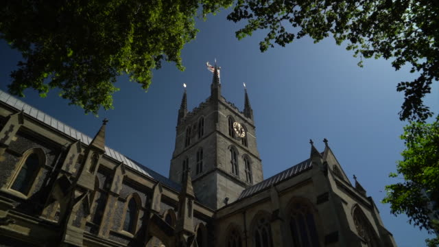 the belltower at southwark cathedral - stone object stock videos & royalty-free footage