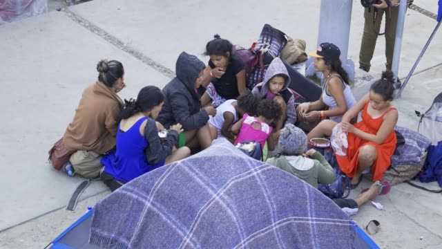 stockvideo's en b-roll-footage met the benito juarez sports complex in tijuana mexico is being used as an emergency shelter to house thousands of central americans the majority from... - san diego