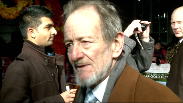 'The Best Exotic Marigold Hotel' film premiere Arrivals and interviews Ronald Pickup interview SOT on receiving call to be in film Completely...