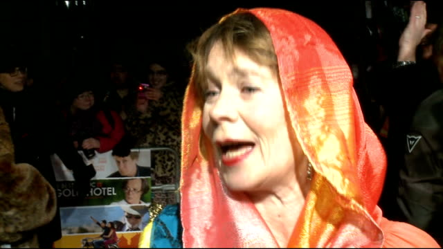 'the best exotic marigold hotel' film premiere arrivals and interviews celia imrie interview sot on getting call about film about old people she... - tom wilkinson actor stock videos & royalty-free footage
