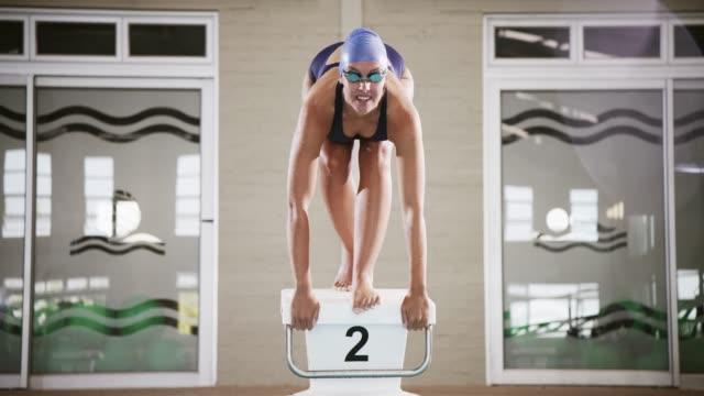 vídeos de stock e filmes b-roll de the best way to start is to dive right in - mergulho desporto