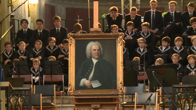 the best-known portrait of german composer johann sebastian bach was welcomed back in his home city in an emotional ceremony friday after an odyssey... - johann sebastian bach stock-videos und b-roll-filmmaterial