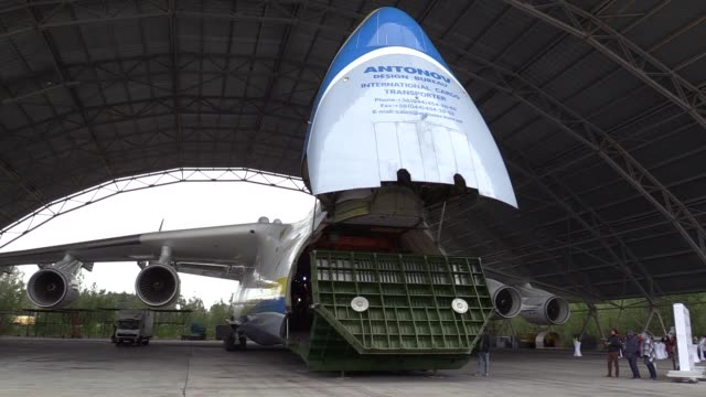 "the biggest aircraft in the world ukrainian antonov an-225 'mriya' stands at aerodrome ""kiev"" of antonov in gostomel, ukraine, 30 september, 2017.... - biggest stock videos & royalty-free footage"