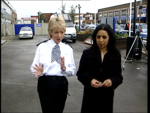 The Bill 20th anniversary live programme ITN Nannar and Trudie Goodwin from Sun Hill police station set TRACK CBV Feet of Nannar and Goodwin walking...