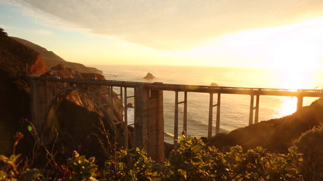 The Bixby Bridge on Highway 1 during sunset.