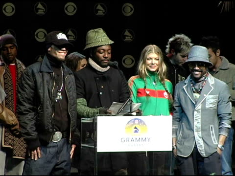 the black eyed peas announce the grammy award nominees in the catagory best country album at the 2004 grammy awards nominations at the henry fonda... - ノミネート点の映像素材/bロール