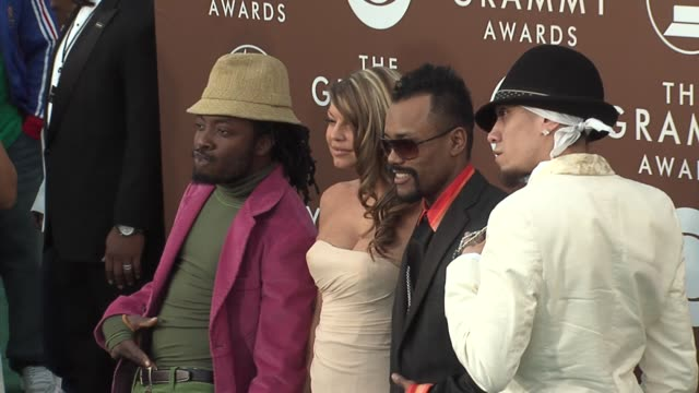 the black eyed peas at the 2006 grammy awards arrivals at the staples center in los angeles california on february 8 2006 - the black eyed peas band stock videos and b-roll footage