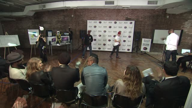 the black eyed peas at the black eyed peas at the peapod adobe youth voices academy launch at urban arts partnership in new york city april 19th at... - adobe material stock videos and b-roll footage