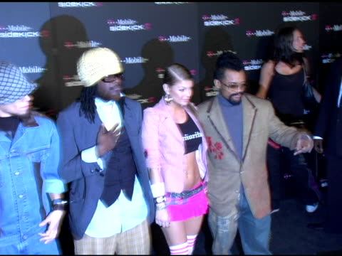 the black eyed peas at the 'tmobile sidekick ii' launch party arrivals at the grove in los angeles california on august 5 2004 - black eyed peas stock videos & royalty-free footage