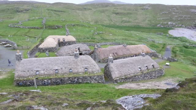 the black house village at garenin near carloway on the isle of lewis outer hebrides scotland uk these ancient traditional houses have been preserved... - hebrides stock videos & royalty-free footage