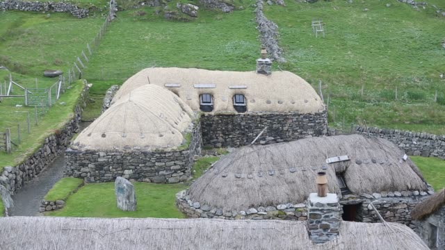 the black house village at garenin near carloway on the isle of lewis, outer hebrides, scotland, uk. these ancient traditional houses have been... - hebrides stock videos & royalty-free footage