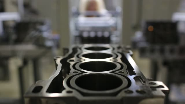 the block for a vw 16mpi petrol automobile engine sits on the assembly line before its cylinders and head are fitted at the volkswagen group rus ooo... - cylinder stock videos & royalty-free footage
