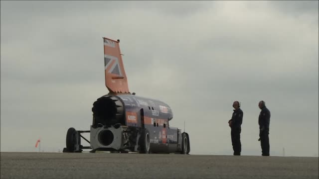 The Bloodhound Super Sonic Car carries out its first public trials reaching a speed of 200 miles per hour ahead of a land speed world record attempt