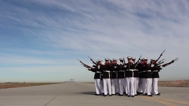 the blue angels marine corps' c130 hercules affectionately known as fat albert flies over the silent drill platoon at marine corps air station yuma... - platoon stock videos and b-roll footage