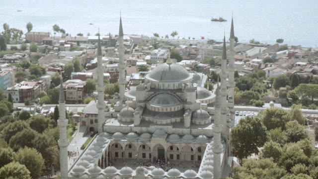 aerial the blue mosque / istanbul, turkey - istanbul stock videos & royalty-free footage