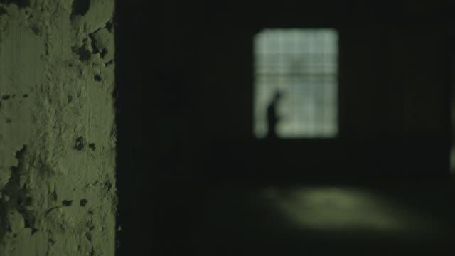 the blurry silhouette of an unidentifiable man sits down on the ledge of windowsill in an empty industrial building and uses an electronic device, uk. - man and machine stock videos & royalty-free footage