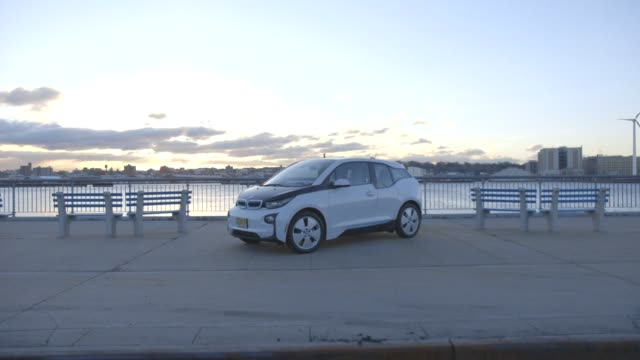 The BMW i3 parked along a river in New York City New York on March 17th 2015 Shots Exterior wide shots circling the car along the waterfront Wide...