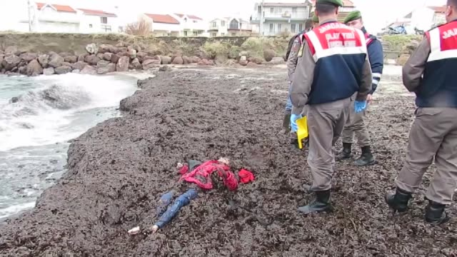 vídeos de stock e filmes b-roll de the body of a refugee is seen after she washed ashore on a beach in the altinova neighborhood in the ayvalik district of balikesir after a boat... - crise de migrantes europeia 2015 2016