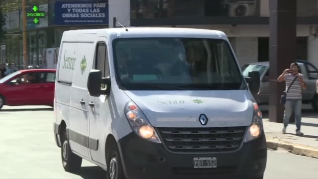 the body of footballer emiliano sala who died in a plane crash between nantes and cardiff arrives at a funeral home in santa fe argentina - nantes stock videos & royalty-free footage