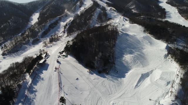 the bokwang phoenix snow park the venue for freestyle skiing and snowboard events at the 2018 pyeongchang winter olympic games stands in this aerial... - freestyle skiing stock videos & royalty-free footage