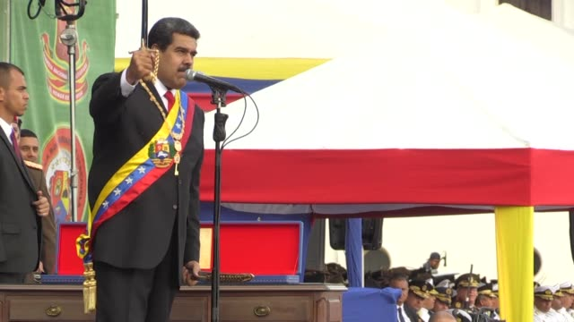 The Bolivarian National Armed Forces recognize Venezuelan President Nicolas Maduro after his inauguration for a second term at the Fuerte Tiuna...