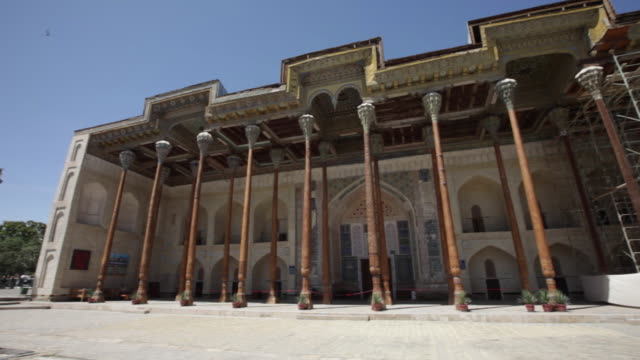 the bolo-hauz mosque in bukhara, uzbekistan - bukhara stock videos and b-roll footage
