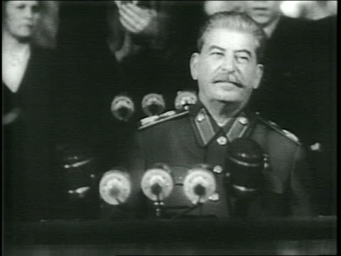 stockvideo's en b-roll-footage met the bolshoi opera house with large banner of joseph stalin/ interior of the multileveled bolshoi opera house filled to capacity with voters to hear... - 1946