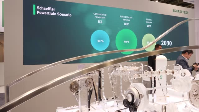 the booth of schaeffler at the 2019 iaa frankfurt auto show on september 10 2019 in frankfurt am main germany the iaa will be open to the public from... - handelsmesse stock-videos und b-roll-filmmaterial