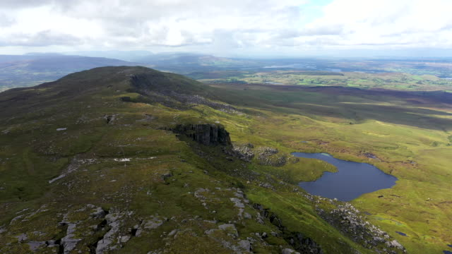 the border between northern island and the republic of ireland runs across the summit of the culicagh mountain range the highest point in fermanagh... - high up stock videos & royalty-free footage