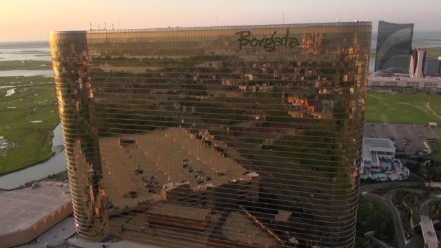the borgata, water club, and harrah casinos tower above the marina area near downtown atlantic city. - atlantic city stock videos & royalty-free footage