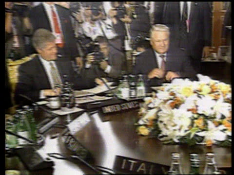 The Boris Yeltsin collection Tokyo MS Boris Yeltsin shaking hands with Kiichi Miyazawa and taking seat at table CMS John Major sitting next to Helmut...