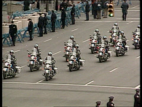 The Boris Yeltsin collection New York United Nations TGV Police motor bikes heading motorcade TGV Cars arriving at UN Building