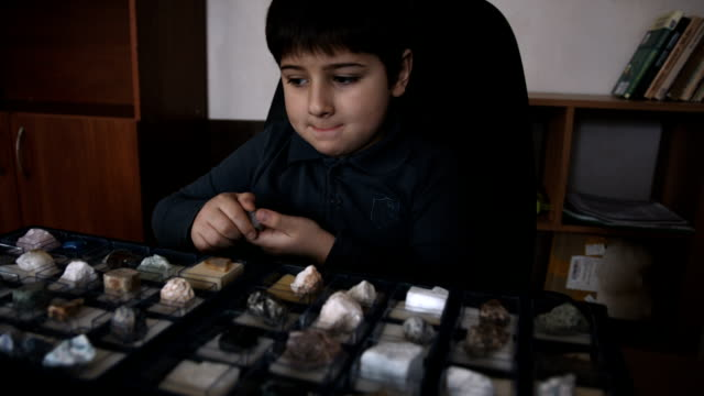 the boy looks at the stone from the collection - baby boys stock videos & royalty-free footage